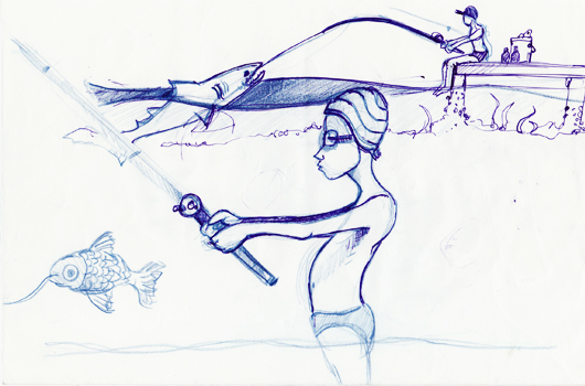 Skizze zum Wallpaper: Der Junge