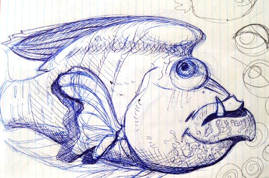 Skizze zum Wallpaper: Der Fisch