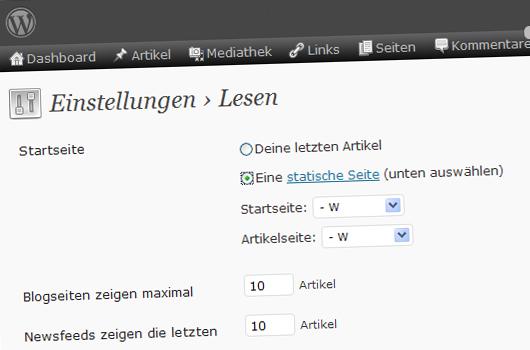 Statische Seite als Homepage.