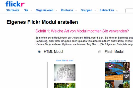Flickr-Vorschau auf der eigenen Webseite
