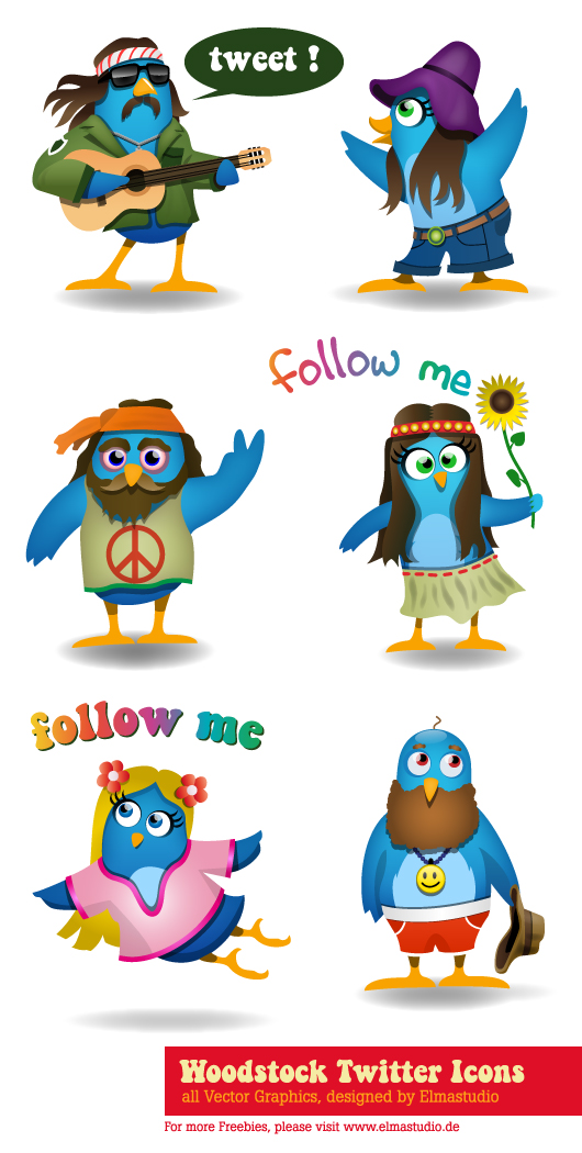 Freebie Twitter Icon Set- free download - preview