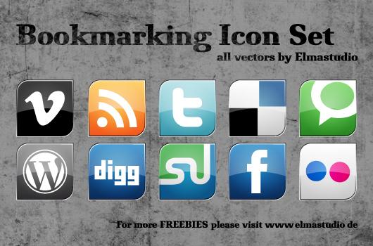 Social Bookmarking Icon Set von Elmastudio