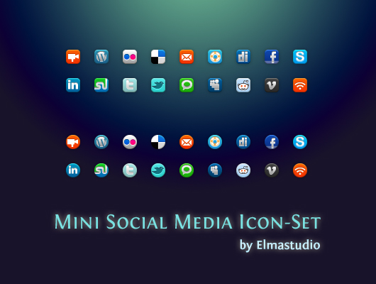 Mini Social Media Icon-Set kostenlos downloaden