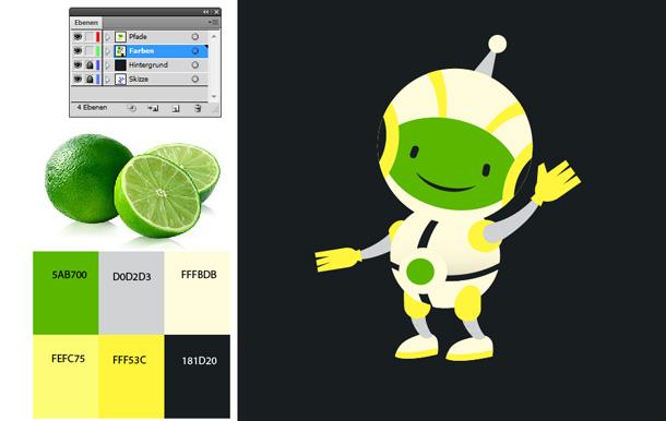 Roboter Maskottchen Illustrator Tutorial