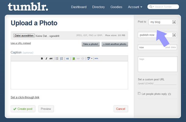 Bei tumblr kannst du schnell ein foto hochladen und veröffentlichen