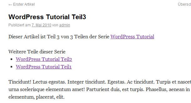 Artikel Serien in WordPress anlegen