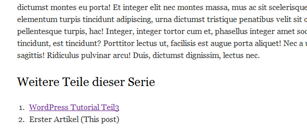 Artikel Serien in WordPress anlegen