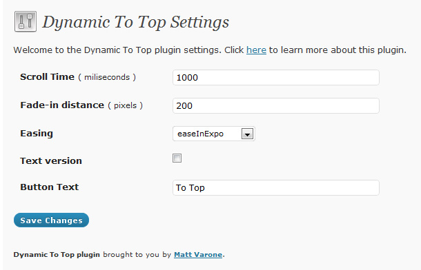 Back to Top Button in WordPress