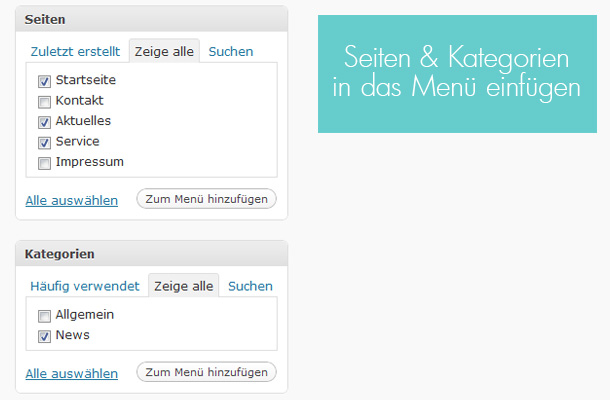 WordPress Custom Menues nutzen