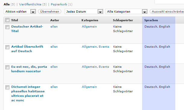 WordPress mehrsprachig