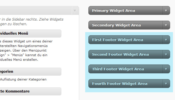 WordPress Tutorial Footer Widgets