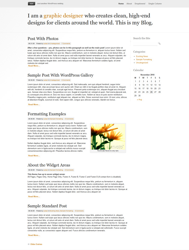 minimalistische WordPress Blog Themes