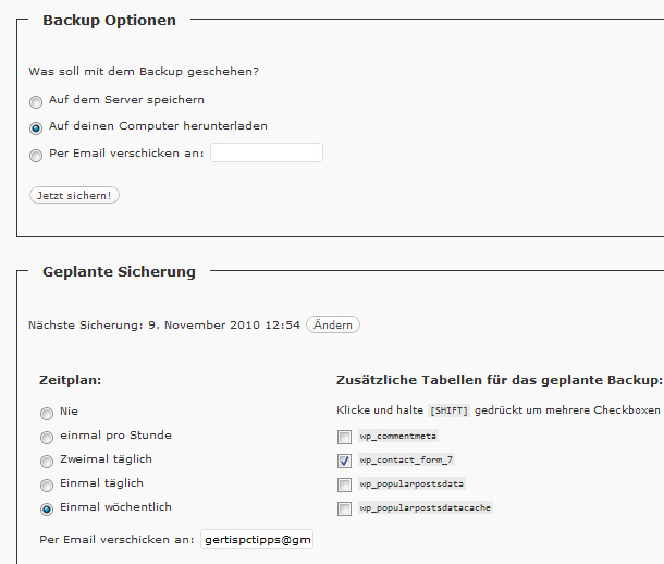 WordPress Backup Plan erstellen