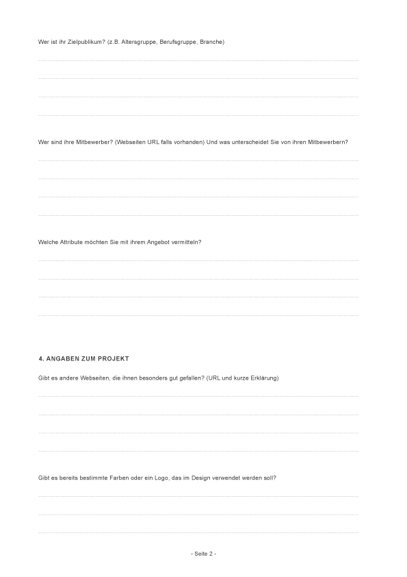 Projektfragebogen Webdesigner