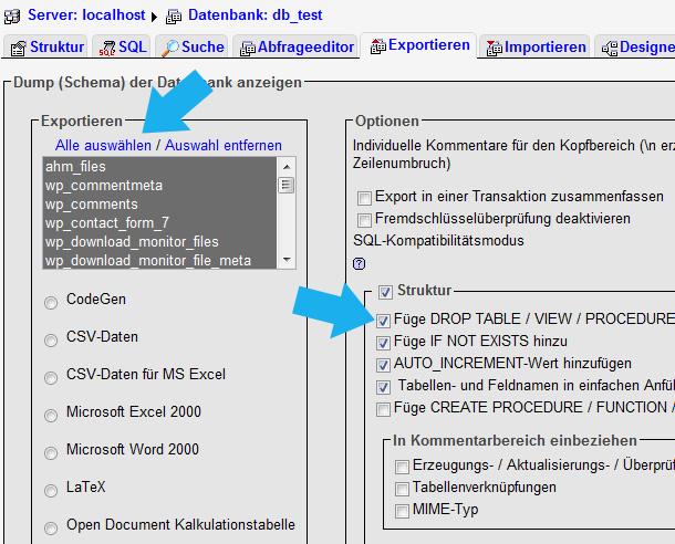 WordPress exportieren