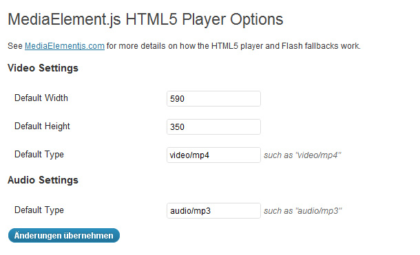 WordPress HTML5 Audio und Video Player