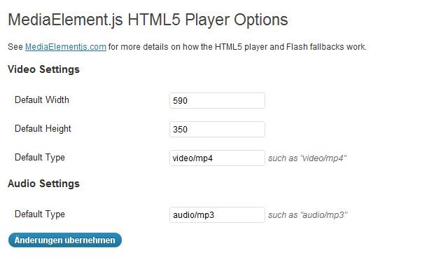 WordPress HTML5 Audio und Video Player