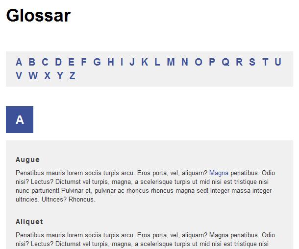 Glossar in HTML und CSS erstellen