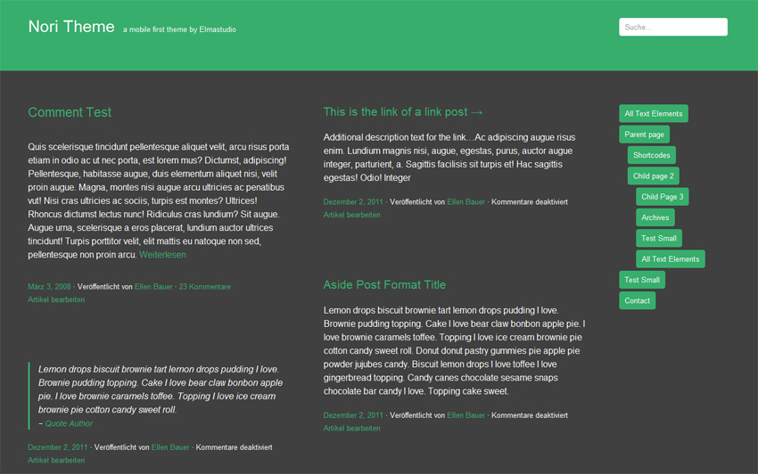 Nori WordPress Theme with custom colors