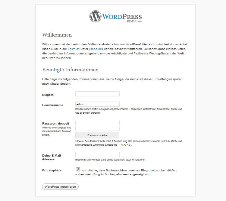 WordPress selbst-gehostet installieren
