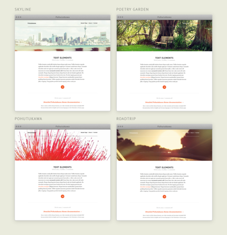 Pohutukawa WordPress Theme Headerbilder