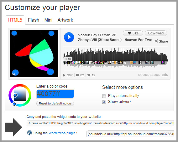 Soundcloud Player für WordPress Audio Post Formats
