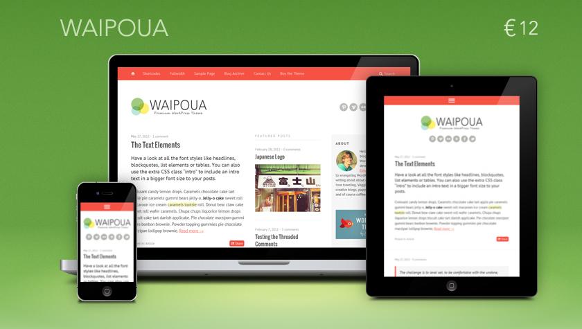 Premium responsive WordPress Theme Waipoua