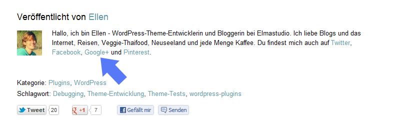 Autoreninfo in Google+ Sucherergebnissen anzeigen in WordPress