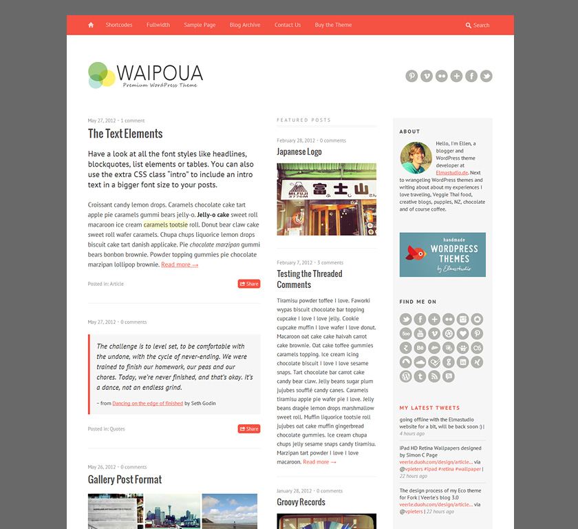 Premium WordPress Theme Waipoua