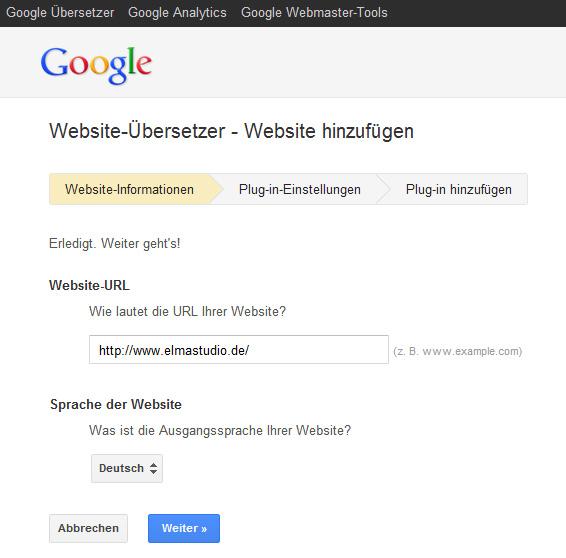 Den Google Website-Übersetzer nutzen