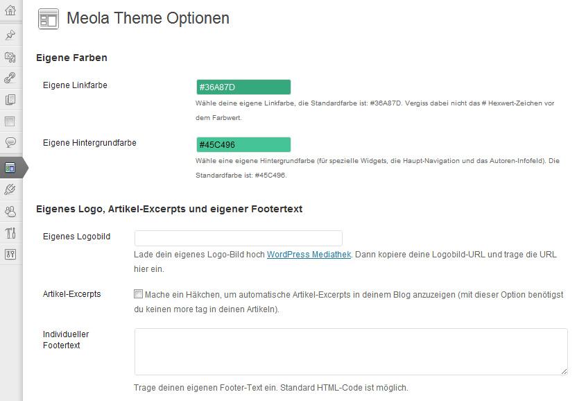 Meola Theme-Optionenseiten