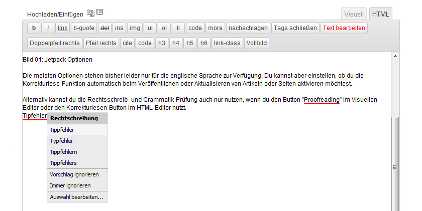 Korrekturlesen in WordPress