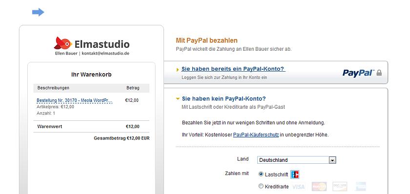 Paypal Seite