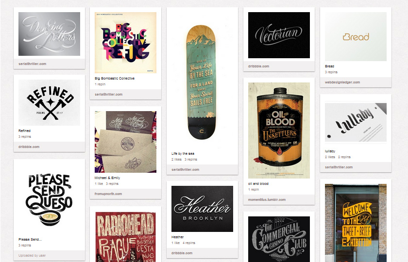 Pinterest Boards für Typografie