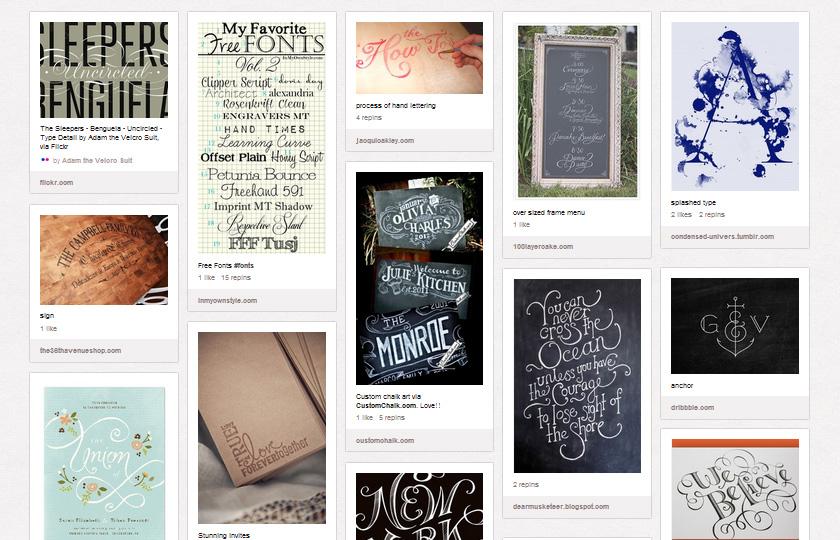 Pinterest Boards für Typografie
