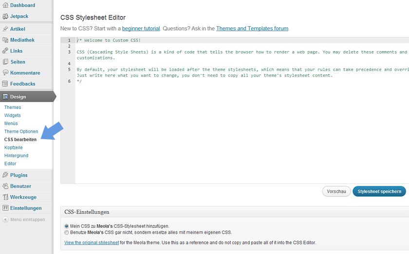 Custom CSS mit dem Jetpack WordPress Plugin