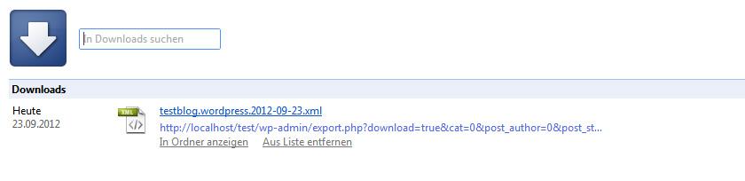 Die Export xml-Datei