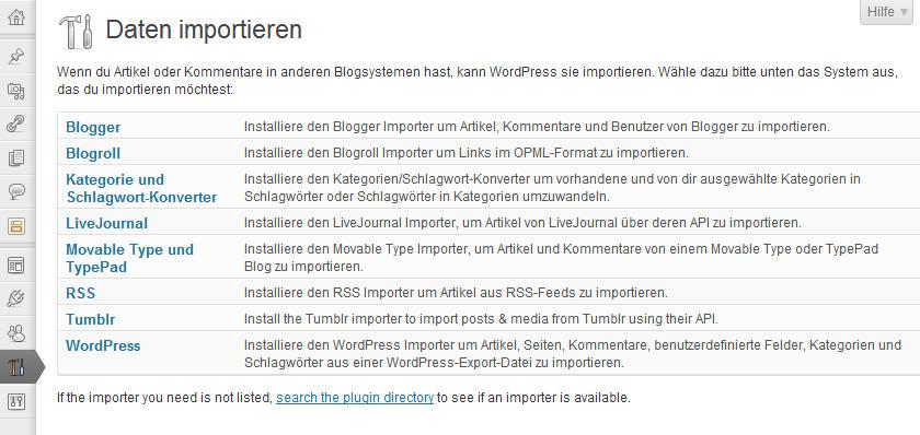 WordPress Importieren-Funktion
