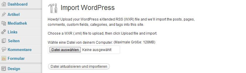 WordPress Daten importieren
