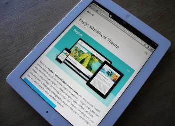 iPad-Ansicht des Baylys WordPress Themes