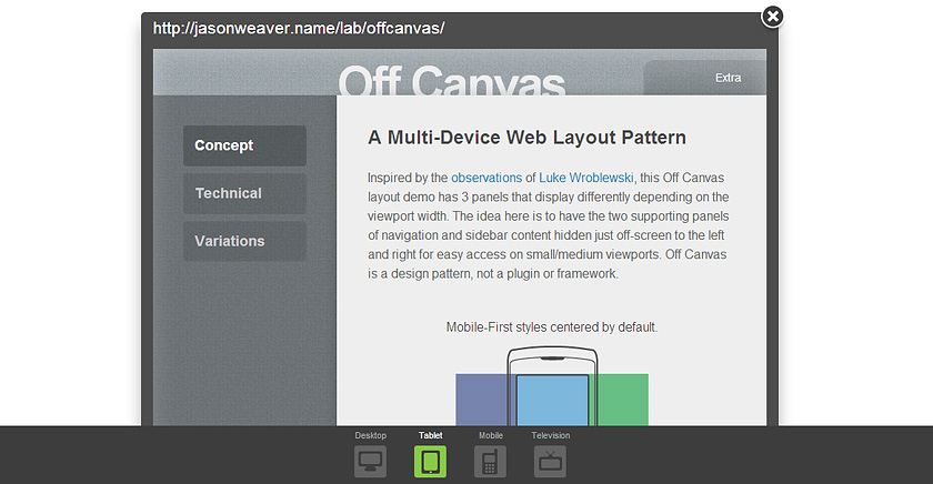 Off Canvas Demo in Screenfly