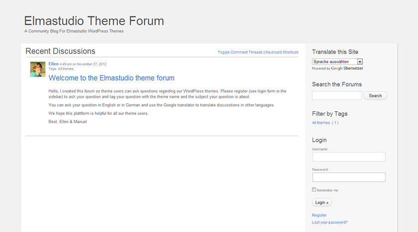 Elmastudio Theme Forum