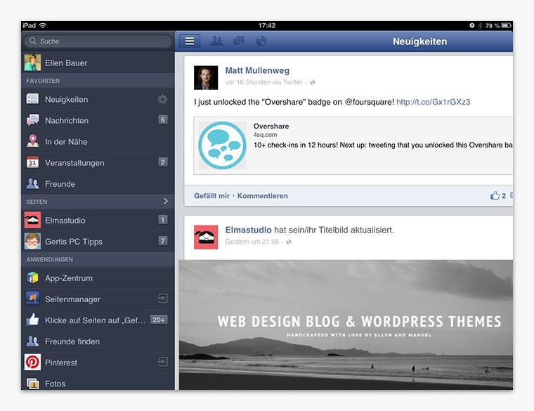Die Facebook iOS-App auf dem iPad.