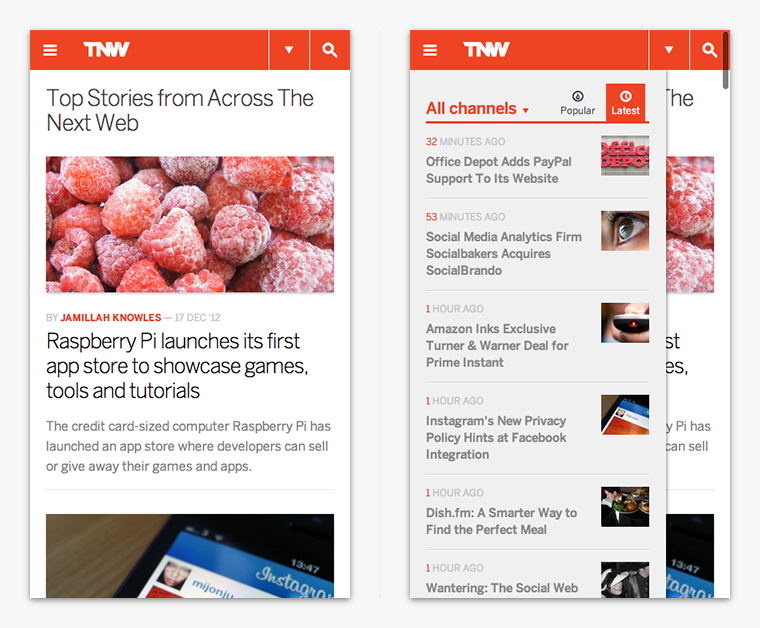 Off Canvas auf thenextweb.com