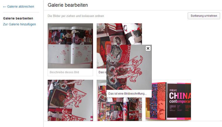 Die Drag'n'Drop Funktion für Bilder-Galerien.