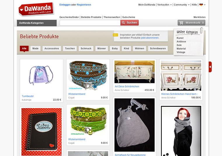 Beliebte Produkte bei DaWanda.