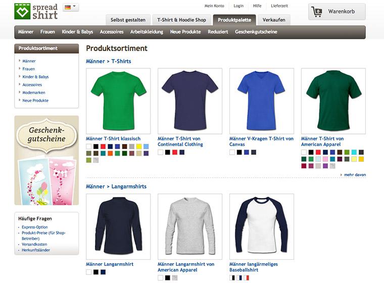 Die Produktauswahl bei Spreadshirt.