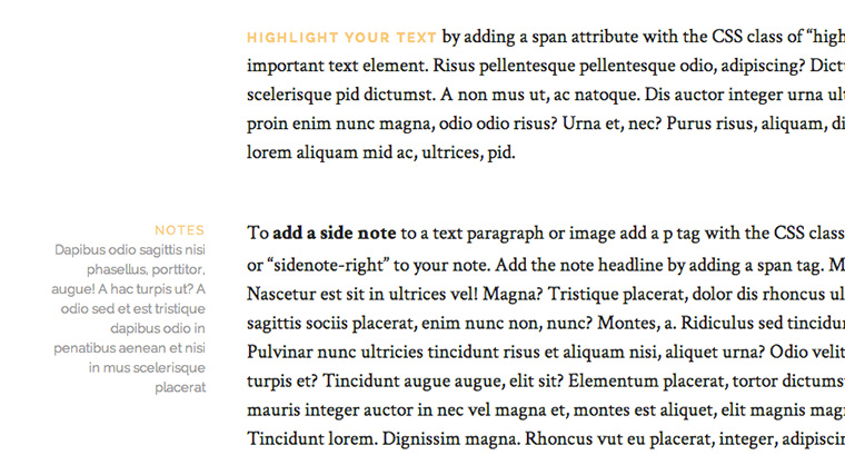 Elegant typography, dropcaps and highlighted text.