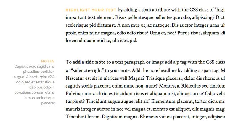 Elegante Typo, Drop Caps und und hervorgehobene Texte.