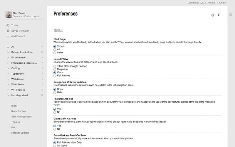 Grund-Einstellungen von Feedly unter Preferences festlegen.